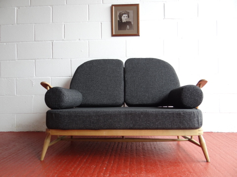 Ercol 203 2 Seater Settee Seat And Back Cushions In Charcoal Grey Stitch