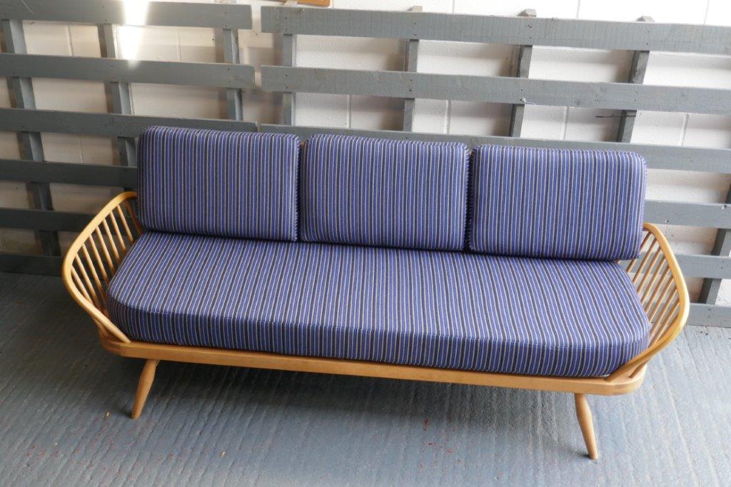 Ercol Studio Couch Blue Grey Bold Stripes 92 Wool