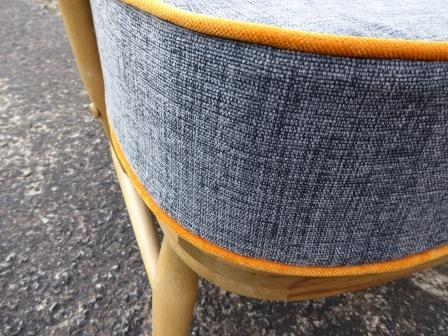 Ercol 203 Seat Cushion Grey With Velvet Orange Piping