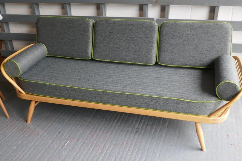 Ercol Studio Couch Steel Grey Herringbone set of Cushions with lime green piping