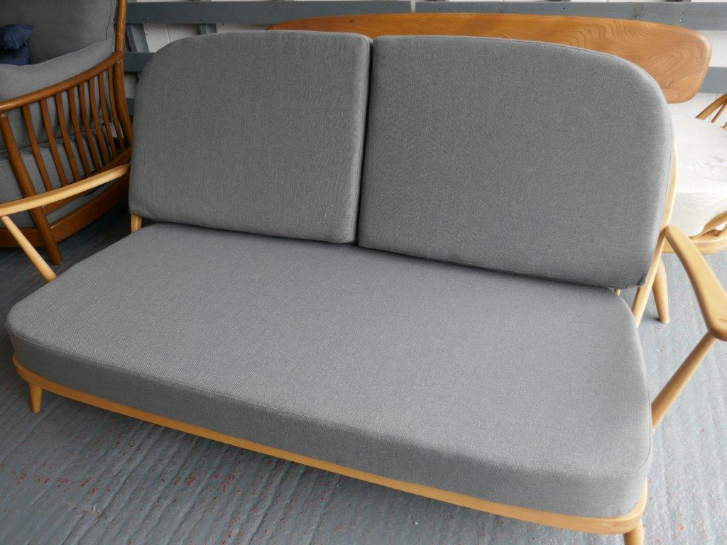 Ercol 203 3 Seater Mattress And Back Cushions In Mid Grey Stitch