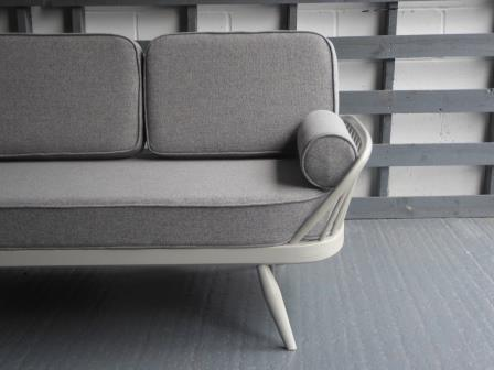 Ercol Studio Couch With Piping Light Grey Stitch Complete