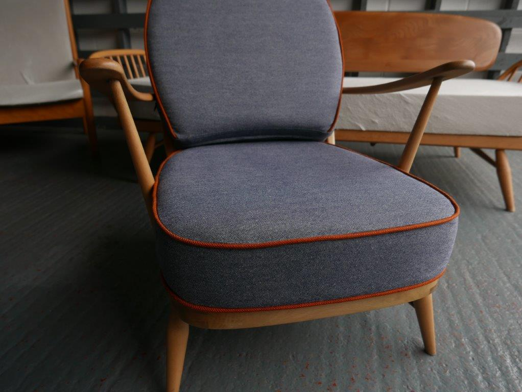 Ercol 203 Seat and Back Cushion in Trader Grey Complete set of Cushions in Pure Soft Wool  with Rusta Cotta Piping