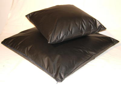 Black Leather Look Scatter Cushion 24 X 24 Inches