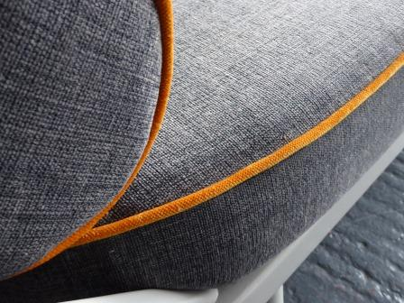 Ercol Studio Couch Grey With Jaffa Orange Piping Complete